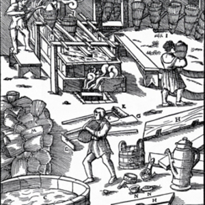 salt brine processing woodcut
