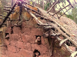 Traditional construction of a Peruvian adobe house