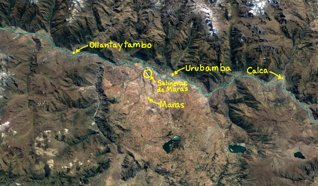 Satellite view of the Sacred Valley