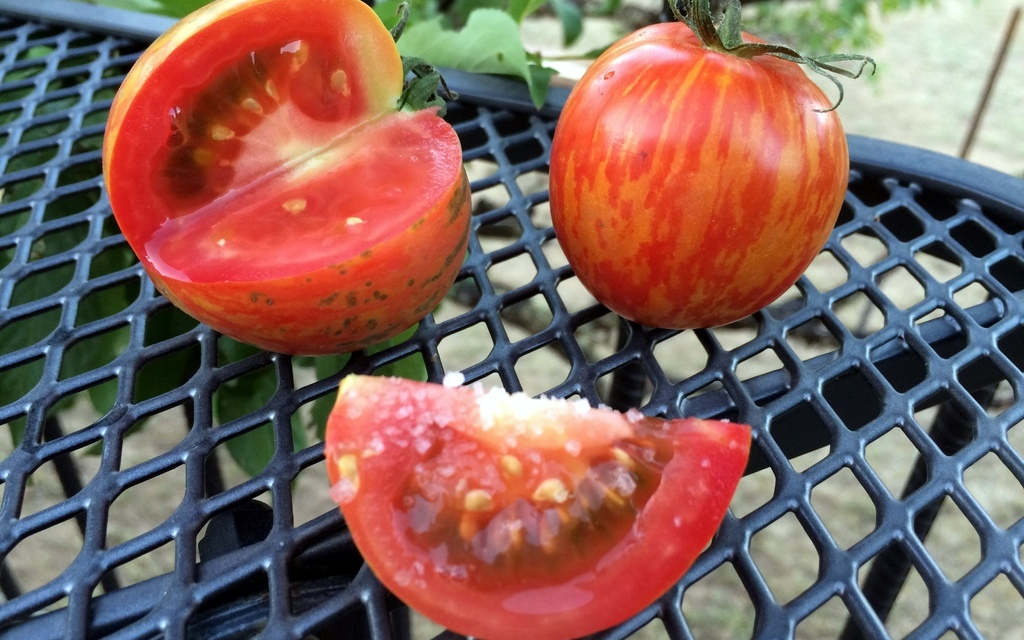 Salt on Heirloom Tomatoes