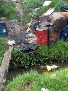 Motor Oil Draining into Creek in the Sacred Valley